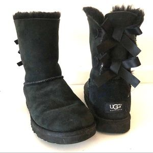 UGG Black Pure Wool Bow Bailey Slipper Boot